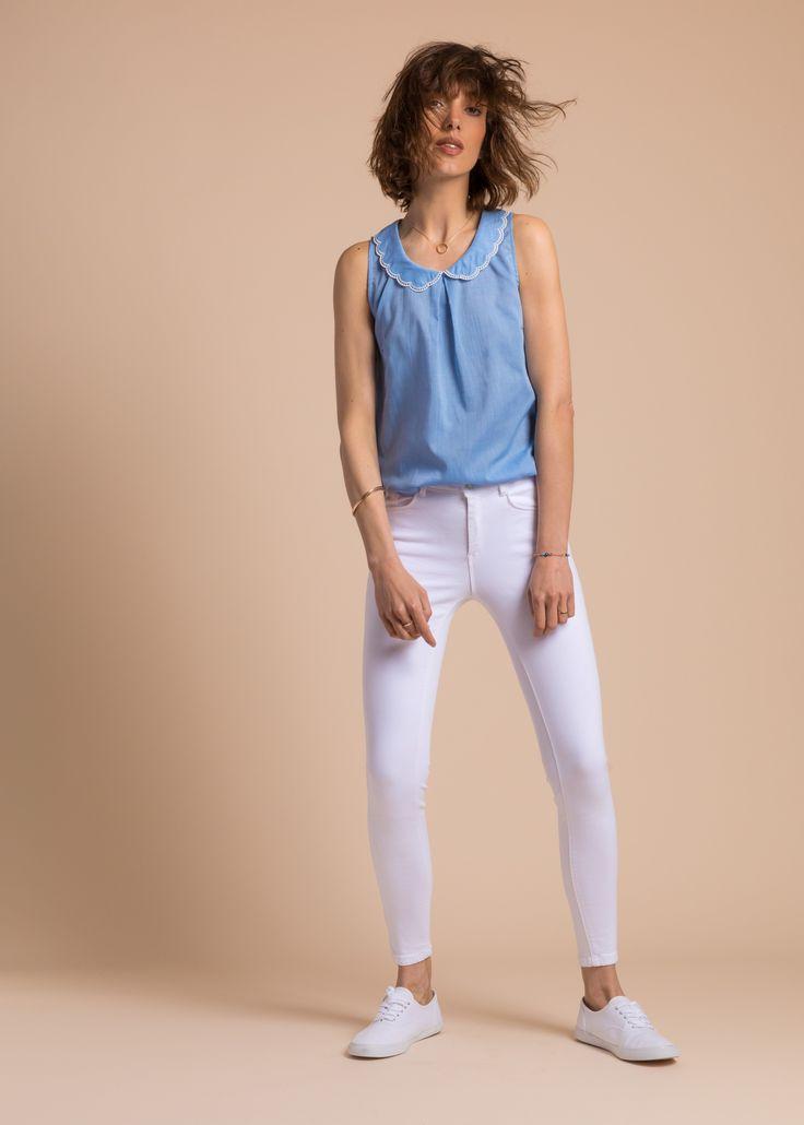Collection PE 17 | La petite étoile col claudine  denim  manches courte  chic classique  basiques  casual wear  casual chic
