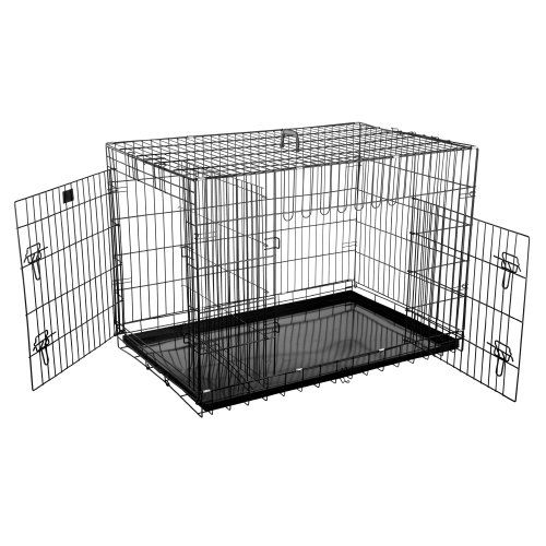 Dog Cages for Sale 42 Inch Dog Crate Size: 42 Features: -Cage.-ABS Plastic handle for easy transportation.-Secure slide bolt latches.-Easily sets up and folds down to portable size.-Tough black coated metal pan.-Fold and carry configuration.-Rounded edges / corners - Safer for puppy.-Deluxe and easy to clean.-Super easy to assemble. Includes: -Divider panel included free perfect for puppies. Color/Finish: -Durable, satin black electro coat finish. 1 Year warranty.