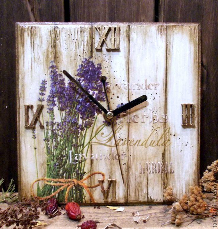 """Купить Часы """"Пряные травы. Lavender"""" - часы, часы настенные, часы для дома, часы декупаж"""