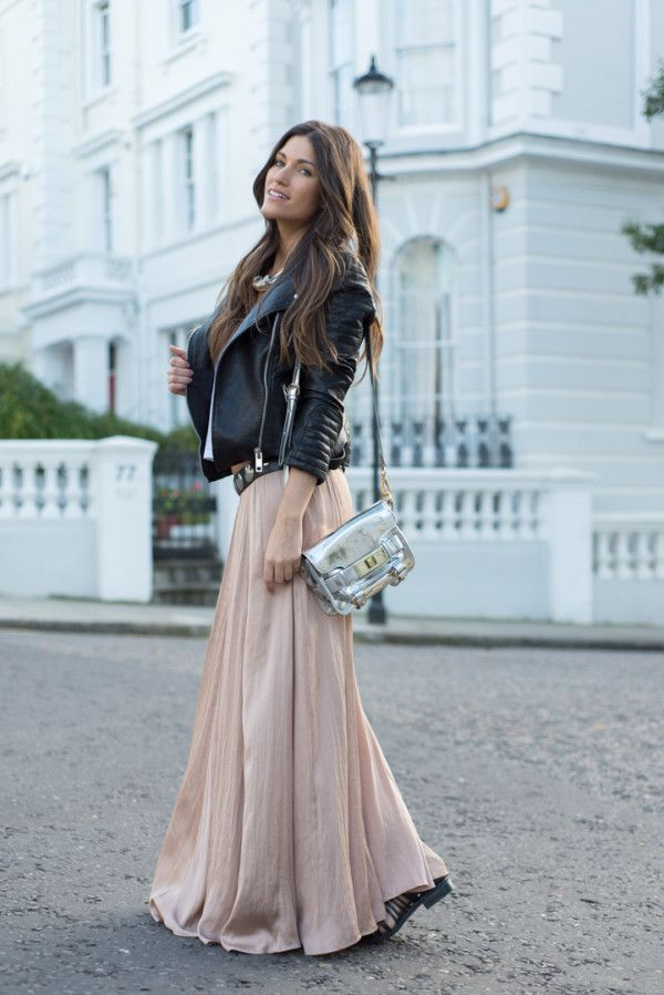 Black leather jacket + Neutral tan metallic maxi = girly rocker chic street style