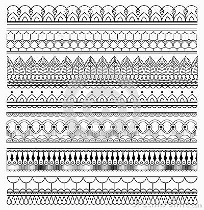 Set of lace Brushes for Adobe Illustrator. Vector