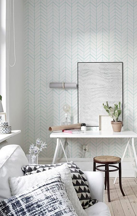 Peel and Stick Self adhesive vinyl wallpaper - Herringbone pattern print  - 026 SNOW /POLAR BLUE