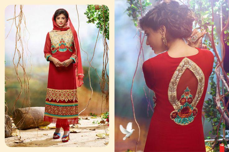 KG fashion embroidered red long anarkali suit