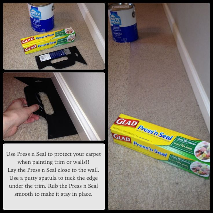 this is a time saver when painting trim or walls in rooms with carpet press n seal instead of painters tape and plastic drop cloth