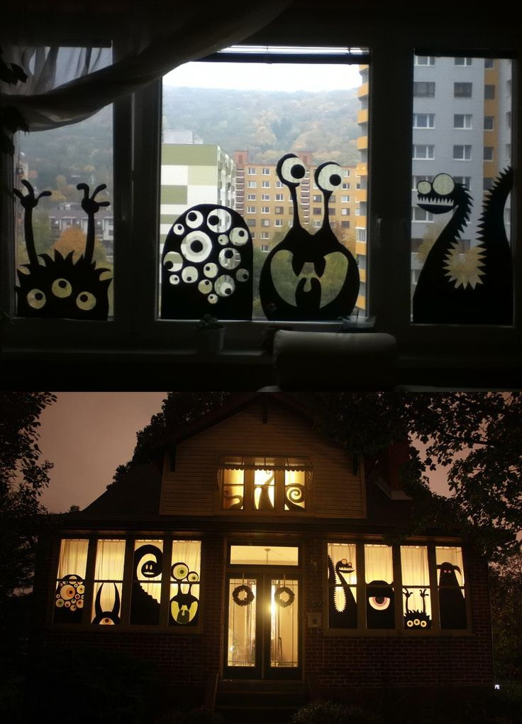 Inspired by the bottom picture I did this window decoration for Haloween 2011
