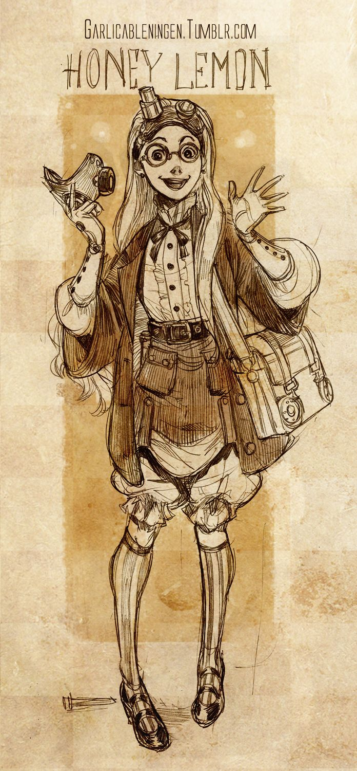 "Steampunk version of Honey Lemon from ""Big Hero 6"" - Art by garlicableningen.tumblr.com"