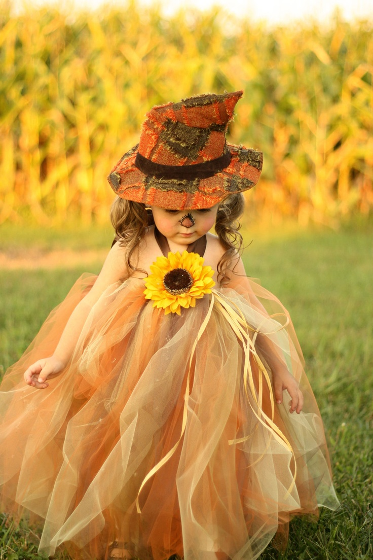 Sassy Little Scarecrow Tutu Dress and Matching Hat- sz 0-3 YRS. $69.50 USD, via Etsy.