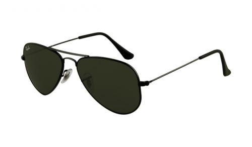 Ray Ban RB3044 Aviator Sunglasses Black Frame Crystal Deep Green