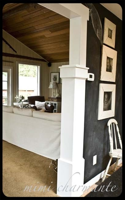 Love the chalkboard wall and the family photos!