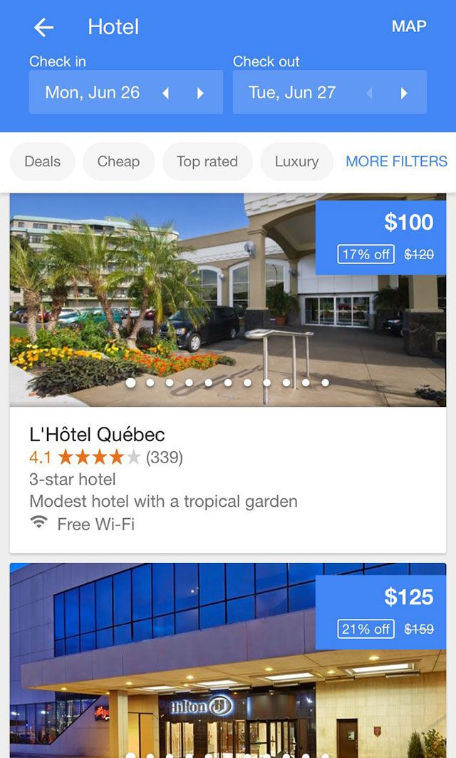 Sergey Alakov spotted and posted on Twitter yet another local hotel test, where Google is testing showing large swipeable images for the hotel results.  Normally, Google will show a more textual search.