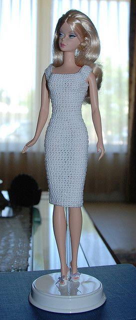 Barbie models a new dress | crochet