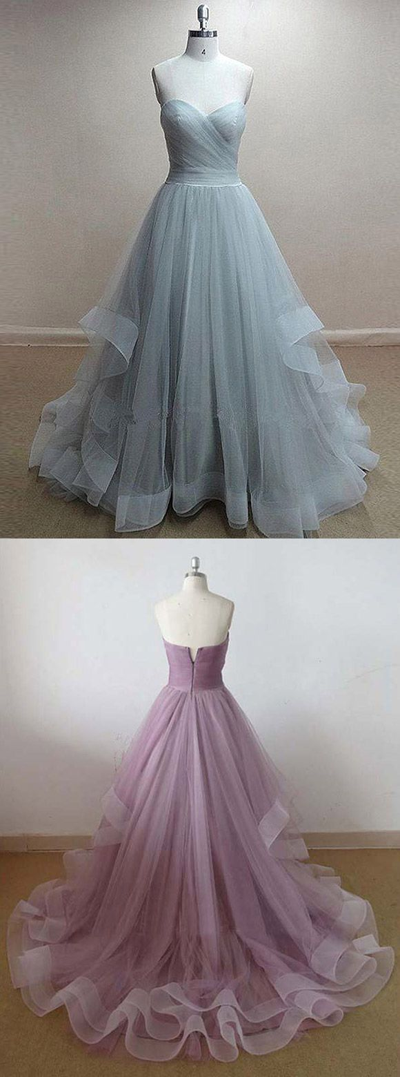 Princess Sweetheart Light Gray Long Prom Dress, Elegant A-line Tiered Tulle  Prom Dress, Fairytale Sleeveless Sweep Train Prom Dress,