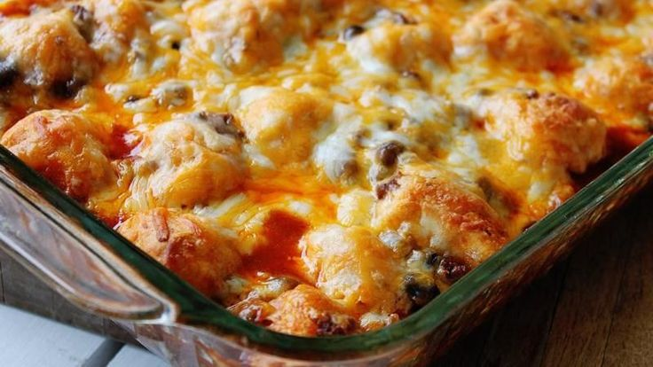 """Ready to pop in the oven in just 15 minutes, this quick-prep casserole blends beef, beans and fun-to-eat Pillsbury refrigerated biscuit """"bubbles"""" in a not-too-spicy sauce."""