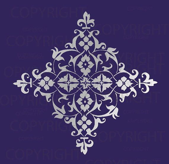 Large Wall Damask STENCIL Pattern FAUX  MURAL by Lightsforever, $12.75
