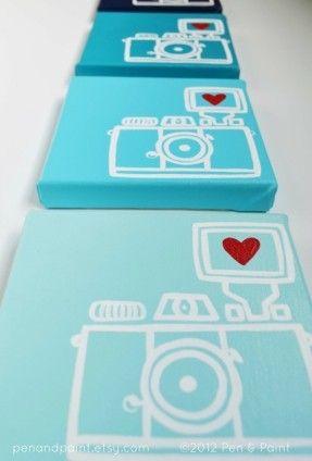Navy Blue, Dark Blue  Camera, Lomography, Diana Mini, I heart photography - Original Painting, Wall Art, Home Decor (4 x 6 Canvas). $20.00, via Etsy.