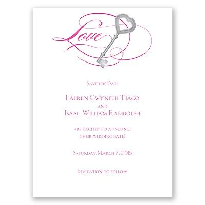 Key to Love - Fuchsia - Save the Date Card | Invitations By Dawn