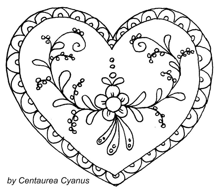 free coloring page by Centraure Cyanus - designed heart - heart illustration - hungarian motif - gingerbread heart