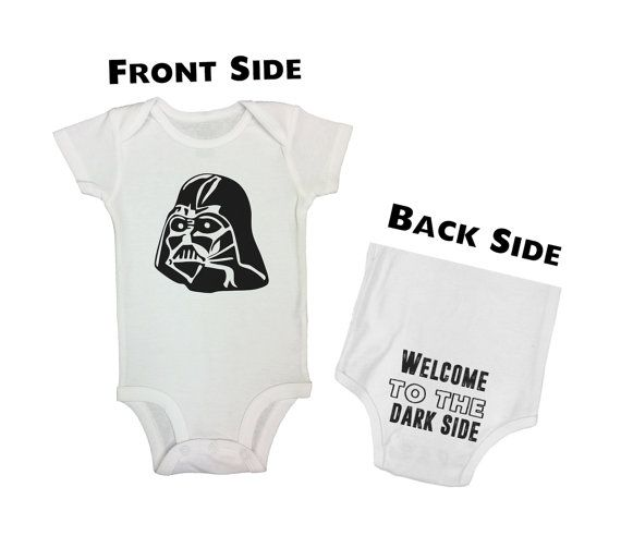 """Cute Baby Boys Onesie """" Darth Vader Welcome To The Dark Side"""" - Front & Back Shirts - Funny Kids Clothing - Bodysuits - Sleeve Option - 600"""
