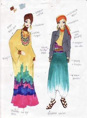 sketch of hijab style by dian rainbow (pelangi)