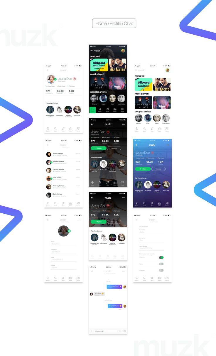 Muzk Premium UI kit for music related apps, Save your time and money and have this ready-made UI kit for your upcoming music related app. with muzk you will own about 40 clean, professional and pixel perfect well crafted screens and components. Pick, edit…