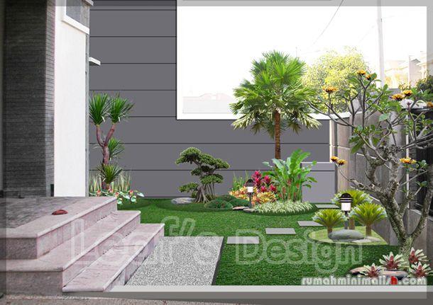 Taman-minimalis-depan-rumah  jardim da entrada  Pinterest  Front