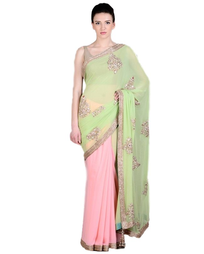 Pink and green party wear saree – Panache Haute Couture