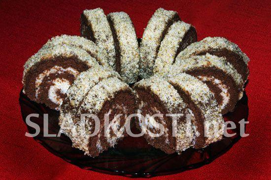Kakaová roláda s kokosovou náplní