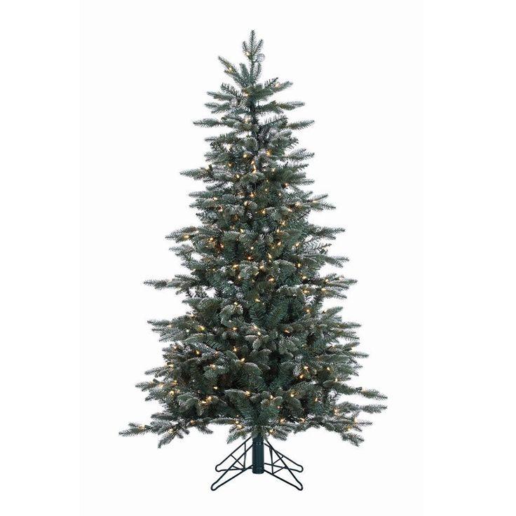 "Vickerman 5' x 38"" Crystal Balsam Fir Tree with 300 Clear Dura-Lit Lights"