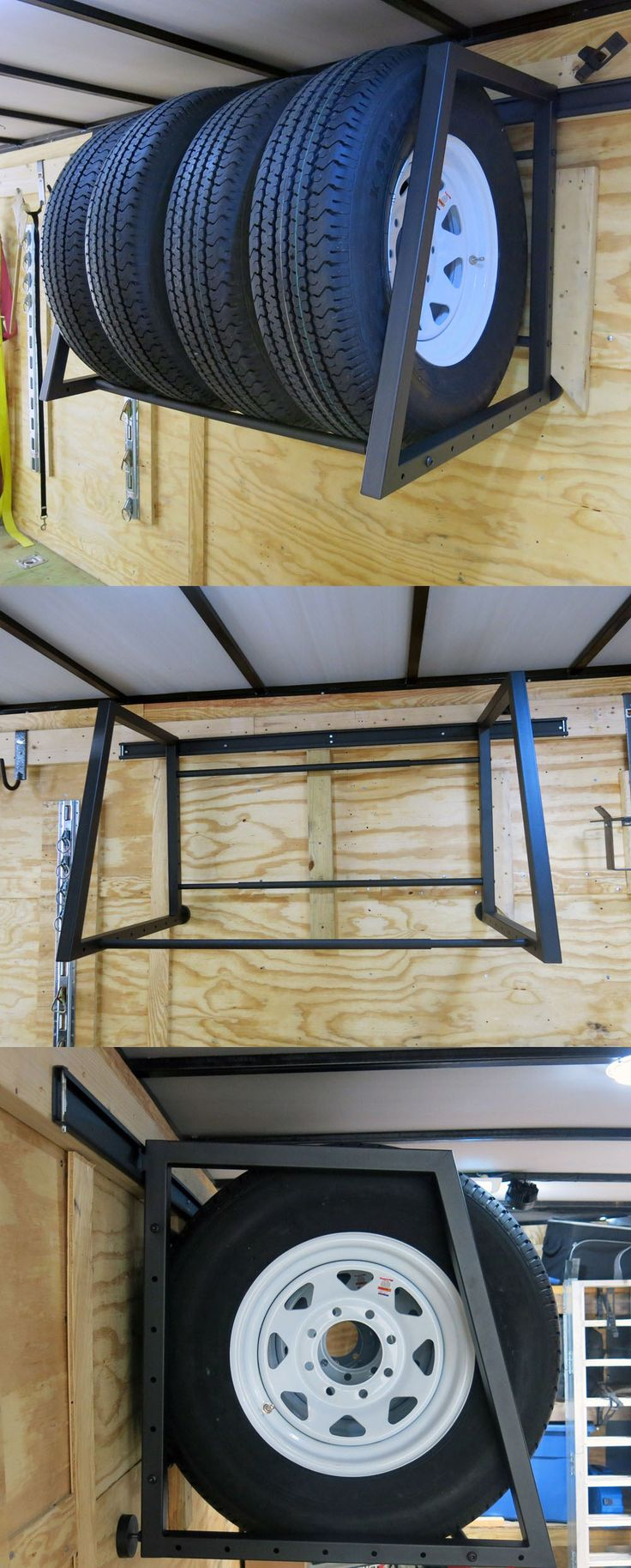 Adjustable tire rack sits on the wall of your trailer, shop or garage to create a space for storing tires and wheels. Tire storage is super easy with this baby.