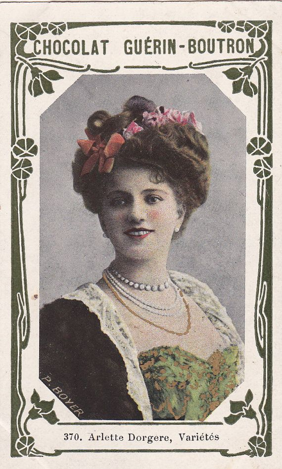 Beautiful French Edwardian Actress Arlette Dorgere by Paul Boyer Art Nouveau Guérin-Boutron Chocolate Trading Card...early 1900s.   Good condition.  * * *  PURCHASE AT LEAST 3 POSTCARDS AT THE SAME TIME AND RECEIVE FREE SHIPPING. When I process your order I will refund the shipping cost back to your Paypal Account, when you purchase at least 3 postcards from my store at the same time.  PLEASE NOTE: Due to increasing postage costs, postcards valued at less than $10.00 will not qualify for…