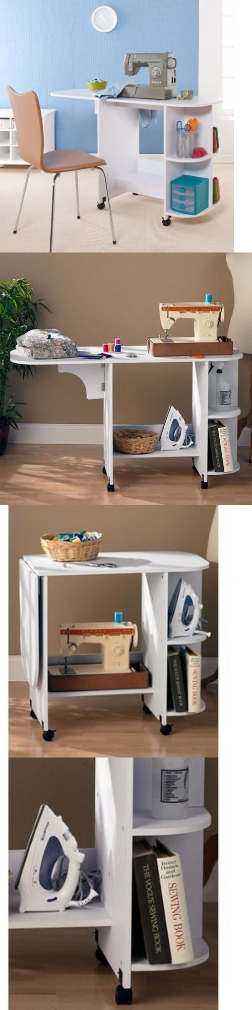 Other Sewing Machine Accs 28168: Transitional Wood Folding Rolling Sewing Machine Table With Shelves Storage -> BUY IT NOW ONLY: $104.39 on eBay!