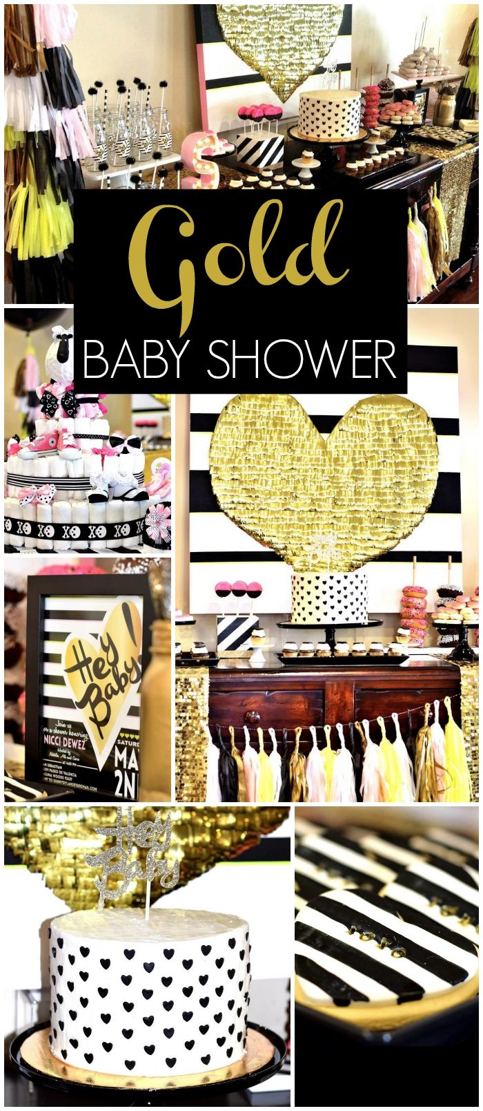 Love this gold, black and white modern baby shower! See more party ideas at CatchMyParty.com!