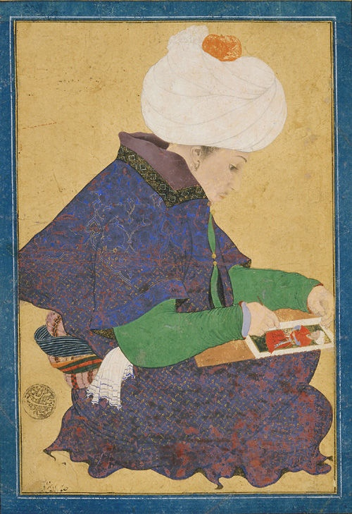 Portrait of a Painter,late 15th century.Ottoman period.Probably reign of Mehmet II (1444-81).Opaque watercolor and gold on paper.H: 18.9 W: 12.8 cm.Probably Istanbul, Turkey.F1932.28.© 2012 Smithsonian Institution