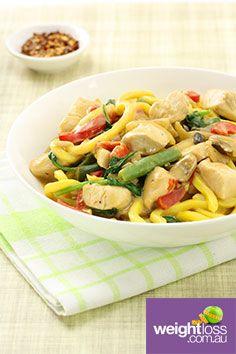 Chicken Satay with Noodles. #HealthyRecipes #DietRecipes #WeightLossRecipes weightloss.com.au