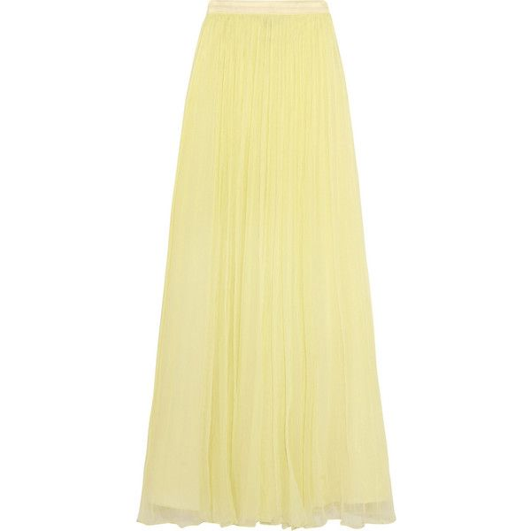 Needle & Thread Crinkled-chiffon maxi skirt ($180) ❤ liked on Polyvore featuring skirts, yellow, yellow maxi skirt, layered skirt, yellow skirt, long beige skirt and summer skirts