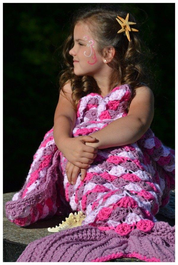 Meerjungfrauen-Decke häkeln ++ Maryell ++ alle Größen und 4 Varianten                                                                                                                                                                                 Mehr