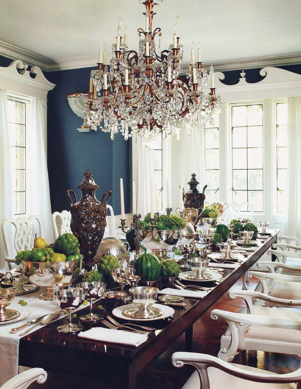 The Dining Roombold Color Tangerine From Drapes Wood Paint Bright White And Chandelier Elegant Table Mary McDonald Interiors