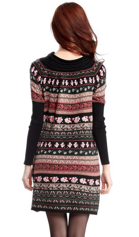 Black and pink Long Sleeve Sweater Dress
