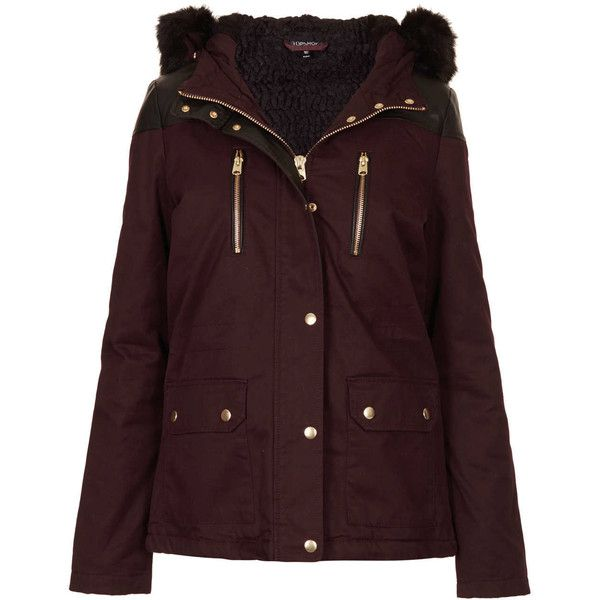 TOPSHOP Fur Trim Short Parka Jacket (465 BRL) ❤ liked on Polyvore featuring outerwear, jackets, coats, coats & jackets, topshop, aubergine, fur hood parka, topshop parka, cotton parka and fur trim parka