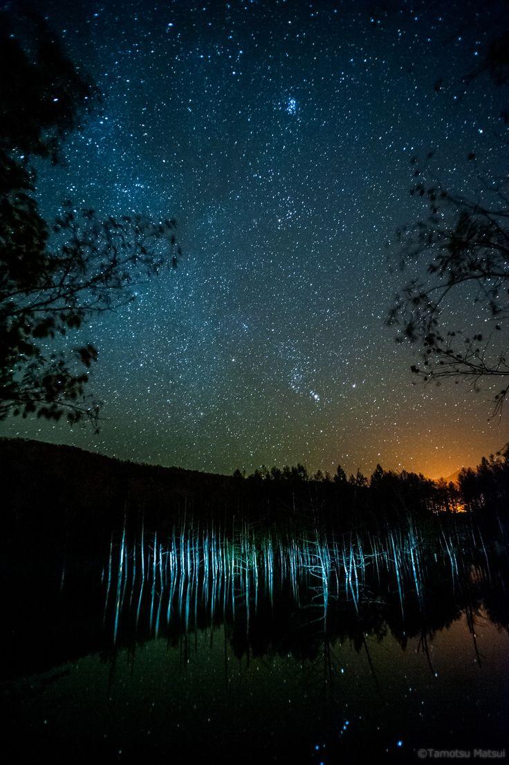 「青い池の夜~light up ver.」@biei,hokkaido,japan  すっかり出しそびれていた一枚をここで出しておきますね~(^^) 立ち枯れた木々を照らすとこんな感じに写ります(^^)