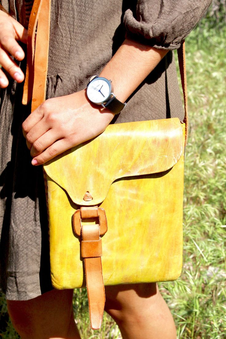 Hand painted leather yellow bag by OverTheMountainCo on Etsy https://www.etsy.com/listing/500038878/hand-painted-leather-yellow-bag