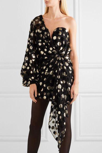 Saint Laurent - One-shoulder Metallic Devoré Chiffon Mini Dress - Black - FR36