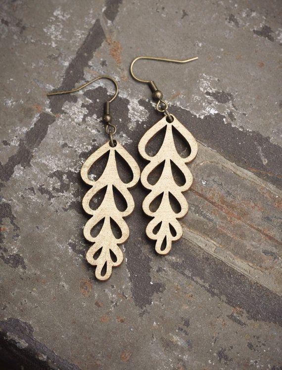 Leaf Laser Cut Wood Earrings  Gold by PigmentAndPine on Etsy, $23.00