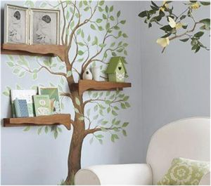 Add wood panel in front of shelves to blend in with tree...