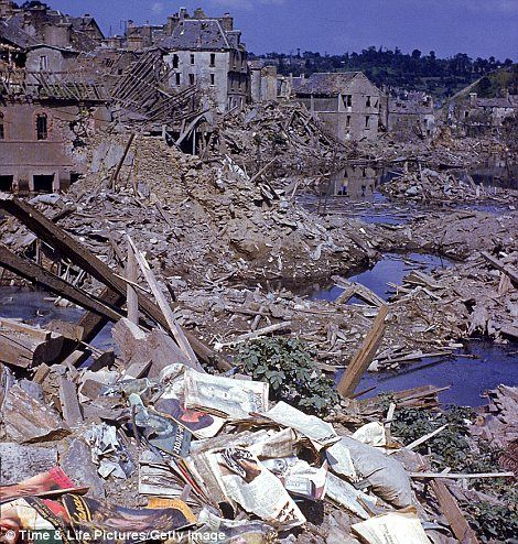 The heavily damaged city of St Lo, France