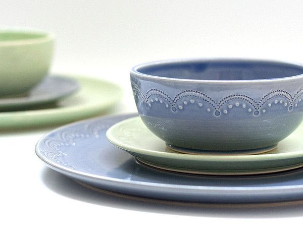 I love her sweet dishes! Aqua and cobalt...sign me up ...