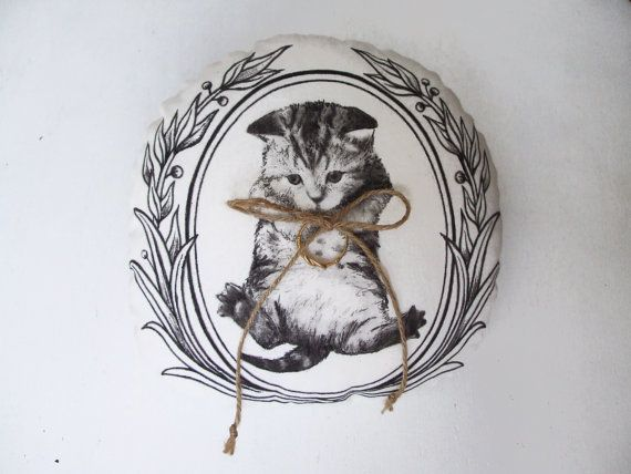 Wedding ring bearer pillow cute cat painted woodland by MosMea