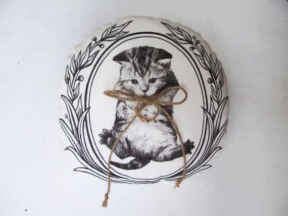 Wedding ring bearer pillow cute cat painted woodland by MosMea