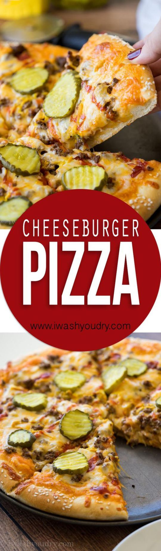 """Cheeseburger Pizza Recipe via I Wash... You Dry - """"My whole family LOVED this Cheeseburger Pizza! We make it at least once a month now!"""""""