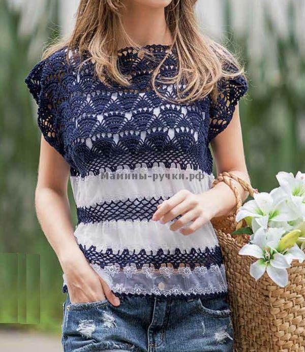 Кружевной топ вязаный крючком (lace top crochet)